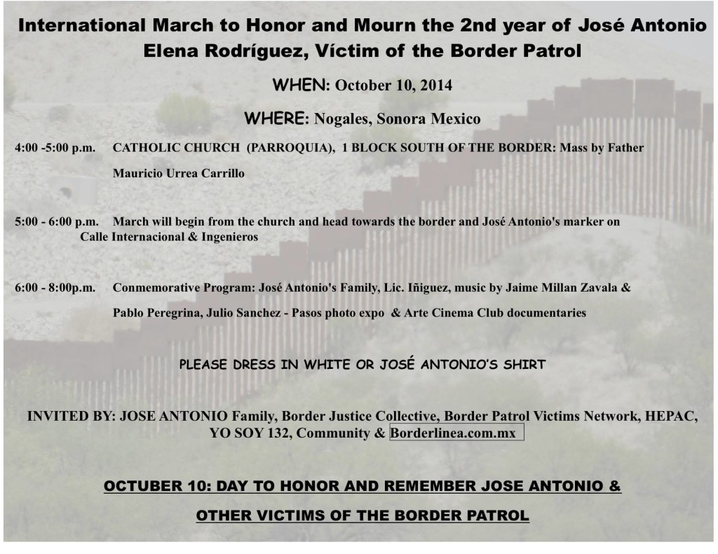 Announcement for the October 10 events in Nogales