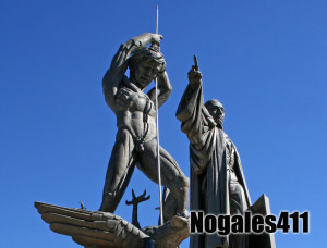 The statue of Benito Juarez and the Yaqui Indian killing ignorance comprise the Nogales, Sonora monument known as the Mono Bichi